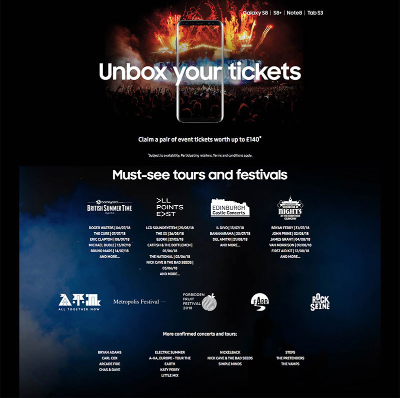 Samsung Unbox Your Tickets